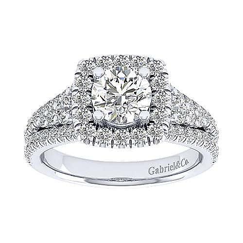 Janet 18k White Gold Round Halo Engagement Ring angle 5