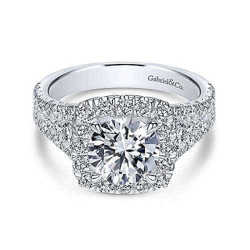 Gabriel - Janet 18k White Gold Round Halo Engagement Ring