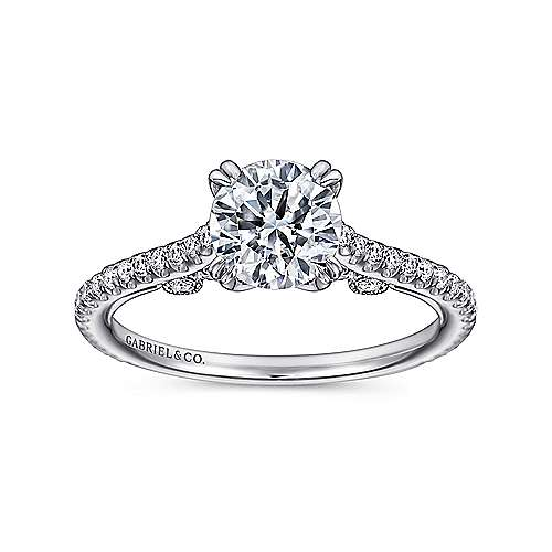 Janine 18k White Gold Round Straight Engagement Ring angle 5