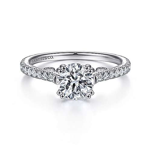 Gabriel - Janine 18k White Gold Round Straight Engagement Ring