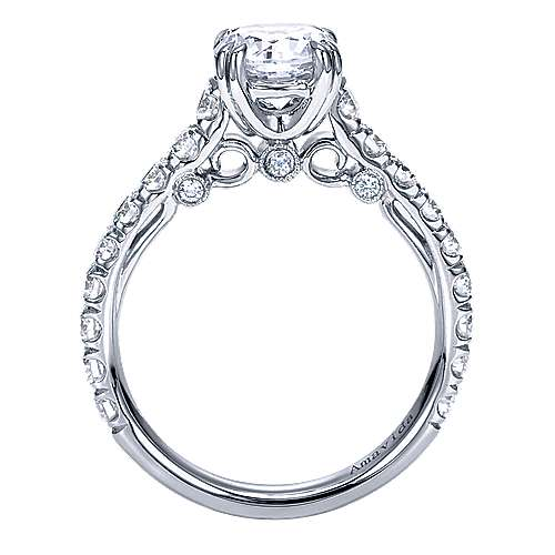 Janine 18k White Gold Round Straight Engagement Ring angle 2