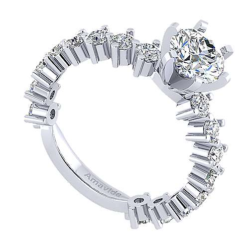 Janis 18k White Gold Round Straight Engagement Ring angle 3