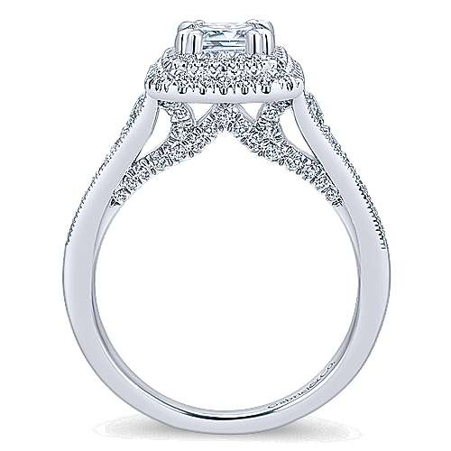 Jasmine 14k White Gold Emerald Cut Double Halo Engagement Ring angle 2