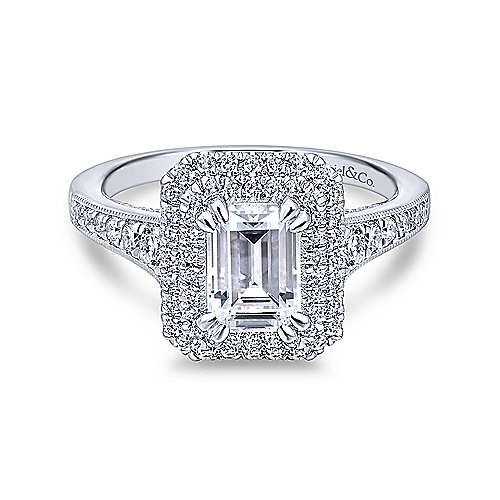 Gabriel - Jasmine 18k White Gold Emerald Cut Double Halo Engagement Ring