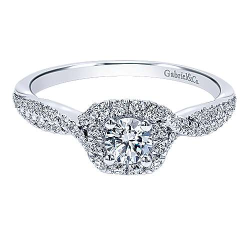 Gabriel - Javi 14k White Gold Round Halo Engagement Ring