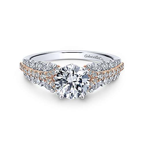 Gabriel - Jay 18k White And Rose Gold Round Straight Engagement Ring
