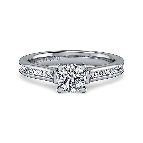 Gabriel - Jayden 14k White Gold Round Straight Engagement Ring