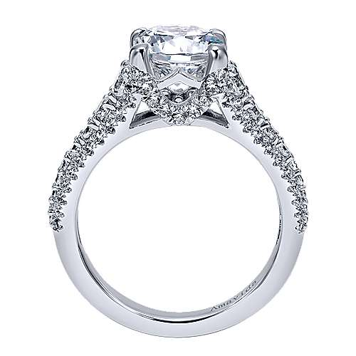 Jaynese 18k White Gold Round Straight Engagement Ring angle 2