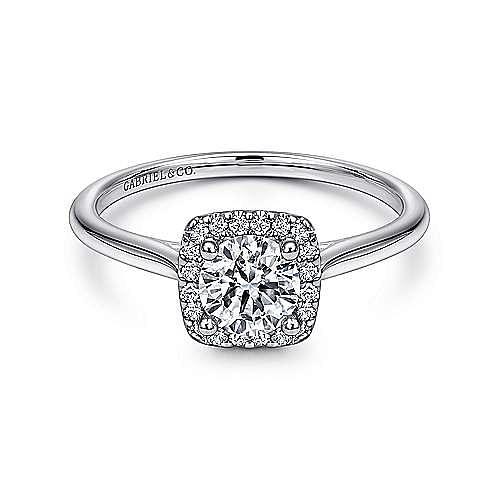 Gabriel - Jenna 14k White Gold Round Halo Engagement Ring