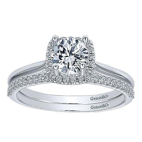 Jenna 14k White Gold Round Halo Engagement Ring angle 4