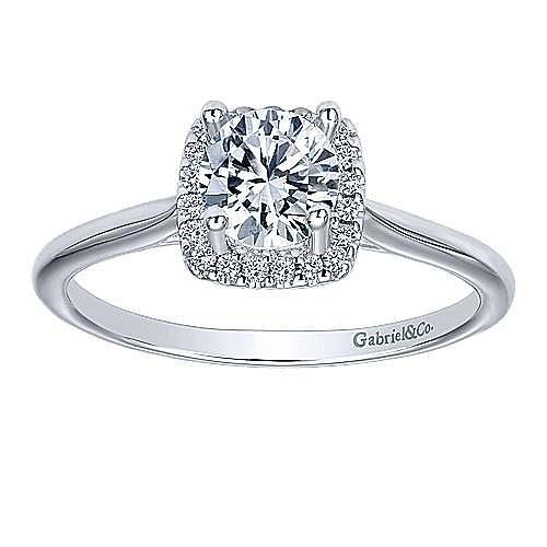 Jenna 14k White Gold Round Halo Engagement Ring angle 5