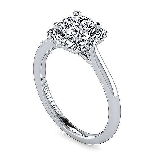 Jenna 14k White Gold Round Halo Engagement Ring angle 3