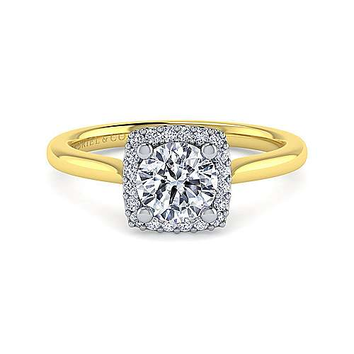 Gabriel - Jenna 14k Yellow And White Gold Round Halo Engagement Ring