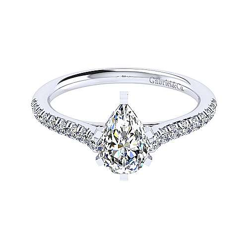 43a1a7a6ad84d5 Jennie 14k White Gold Pear Shape Straight Engagement Ring ...