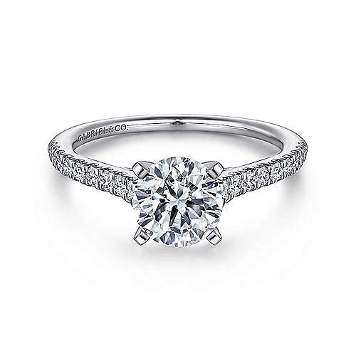 Gabriel - Jennie 14k White Gold Round Straight Engagement Ring