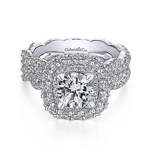 Gabriel - Jennifer 18k White Gold Round Double Halo Engagement Ring