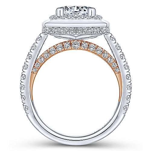 Jersey 18k White And Rose Gold Round Halo Engagement Ring angle 2