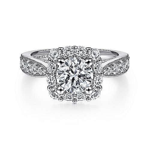 Gabriel - Jessamine 14k White Gold Round Halo Engagement Ring