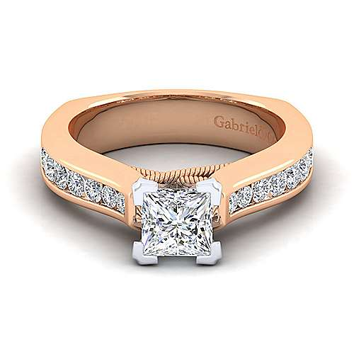Jessica 14k White And Rose Gold Pear Shape Straight Engagement Ring angle 1