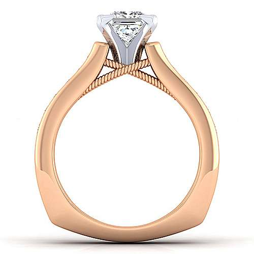 Jessica 14k White And Rose Gold Pear Shape Straight Engagement Ring angle 2