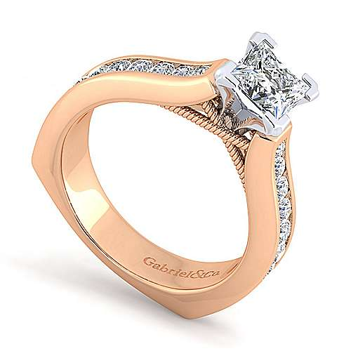Jessica 14k White And Rose Gold Pear Shape Straight Engagement Ring angle 3