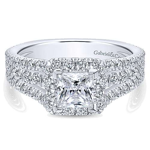 Gabriel - Jewel 14k White Gold Princess Cut Halo Engagement Ring