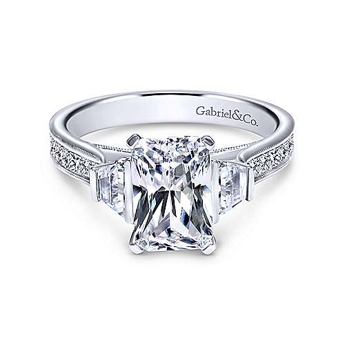 Gabriel - Jezebel 14k White Gold Emerald Cut 3 Stones Engagement Ring
