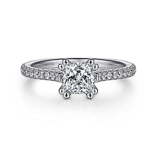 Gabriel - Joanna 14k White Gold Cushion Cut Straight Engagement Ring