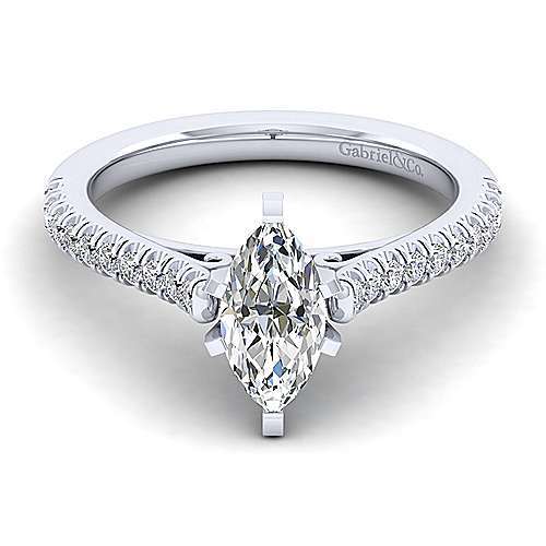 Gabriel - Joanna 14k White Gold Marquise  Straight Engagement Ring