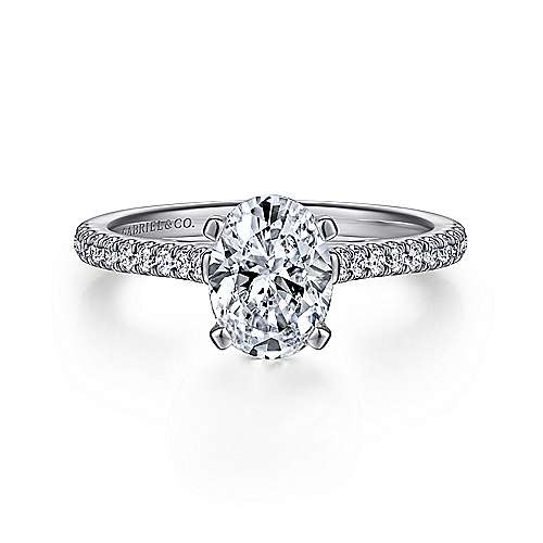 Gabriel - Joanna 14k White Gold Oval Straight Engagement Ring