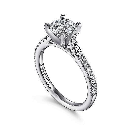 Joanna 14k White Gold Round Straight Engagement Ring angle 3