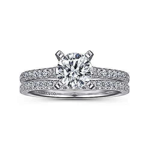 Joanna 14k White Gold Round Straight Engagement Ring angle 4