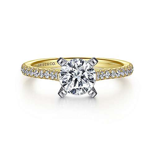 Gabriel - Joanna 14k Yellow And White Gold Round Straight Engagement Ring