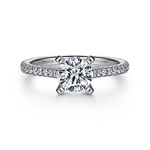 Gabriel - Joanna 18k White Gold Round Straight Engagement Ring