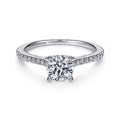 Gabriel - Jocelyn 14k White Gold Round Straight Engagement Ring