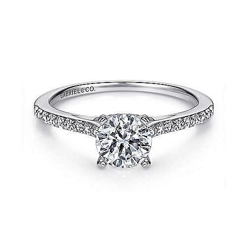 Gabriel - Jocelyn 14k White Gold Round Straight Engagement Ring