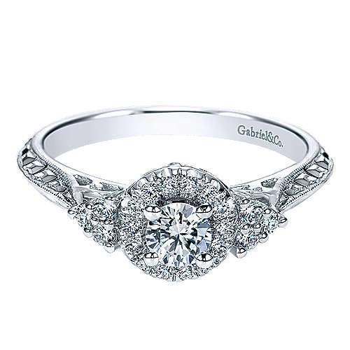Gabriel - Joel 14k White Gold Round Halo Engagement Ring