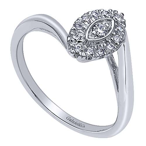 Jojo 14k White Gold Round Halo Engagement Ring angle 3