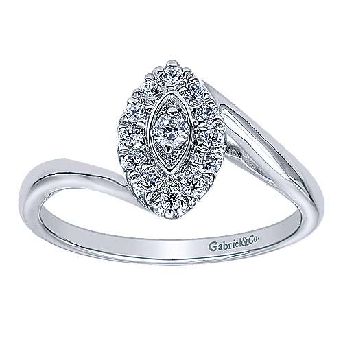 Jojo 14k White Gold Round Halo Engagement Ring angle 5