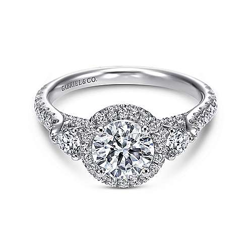 Gabriel - Jolene 14k White Gold Round 3 Stones Halo Engagement Ring