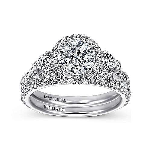 Jolene 14k White Gold Round 3 Stones Halo Engagement Ring angle 4