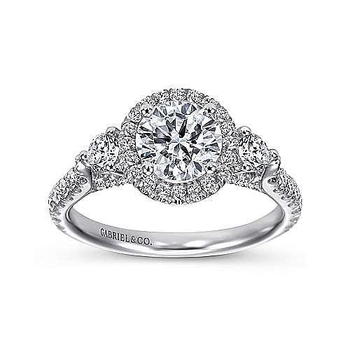 Jolene 14k White Gold Round 3 Stones Halo Engagement Ring angle 5