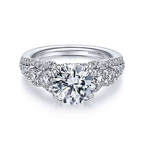 Gabriel - Jonah 18k White Gold Round Straight Engagement Ring