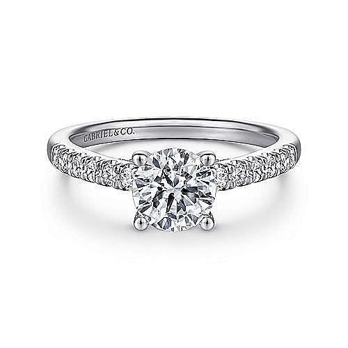 Gabriel - Jones 14k White Gold Round Straight Engagement Ring