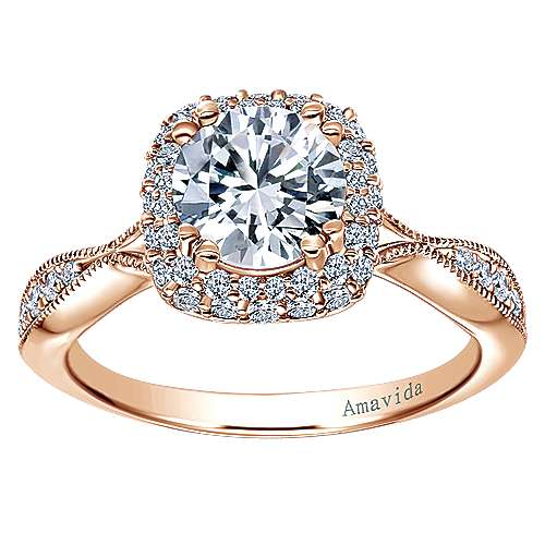 Jorja 18k Rose Gold Round Halo Engagement Ring angle 5