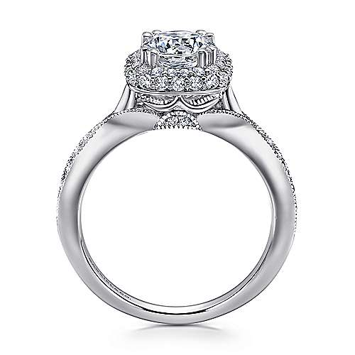 Jorja 18k White Gold Round Double Halo Engagement Ring angle 2