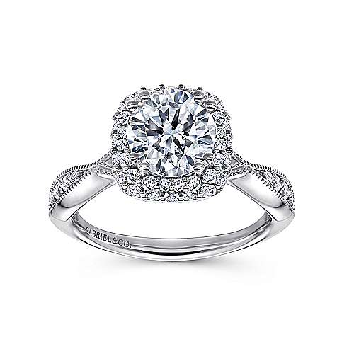 Jorja 18k White Gold Round Double Halo Engagement Ring angle 5