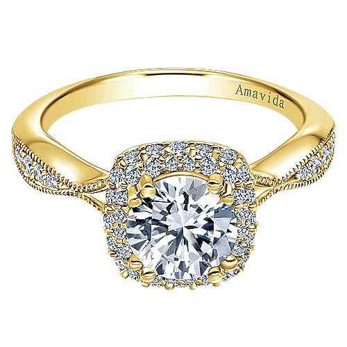 Gabriel - Jorja 18k Yellow Gold Round Halo Engagement Ring