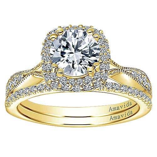 Jorja 18k Yellow Gold Round Halo Engagement Ring angle 4