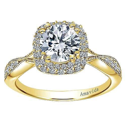 Jorja 18k Yellow Gold Round Halo Engagement Ring angle 5